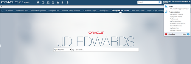 jd edwards my subscription menu