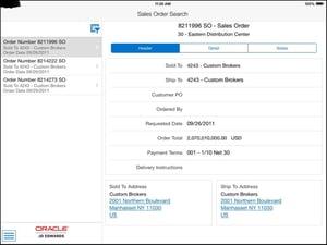 jde 9.2 - search sales order tablet neteris