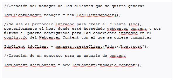 webcenter conexion intradoc